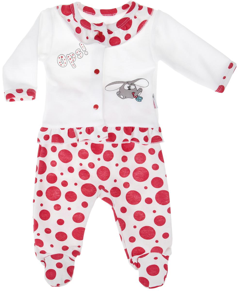Комплект для девочки Клякса: кофточка, ползунки, цвет: белый, красный. 21Д-5062. Размер 56 комплекты детской одежды клякса комплект для девочки из кофточки и ползунков