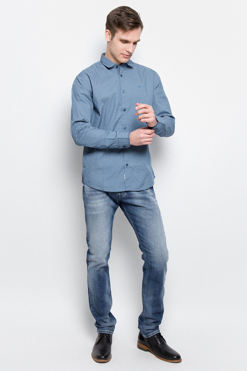Рубашка мужская Lee Cooper, цвет: синий. DRAZIK-5606. Размер XL (54) рубашка мужская lee cooper цвет темно зеленый lchmw044 размер xxl 54