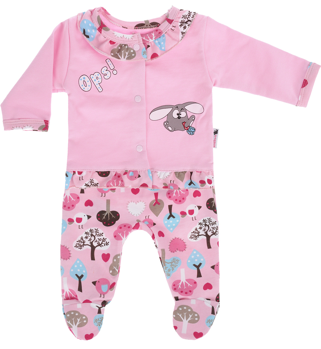 Комплект для девочки Клякса: кофточка, ползунки, цвет: розовый. 21Д-5062. Размер 7421Д-5062Детский комплект Клякса состоит из кофточки и ползунков. Комплект выполнен из натурального хлопка. Кофта с длинным рукавом застегивается на кнопки спереди. Модель украшена оборками под горловиной и по низу, а также декорирована принтом с изображением забавного кролика. Ползунки с закрытыми ножками имеют эластичную резинку на поясе. Изделие оформлено ярким принтом.