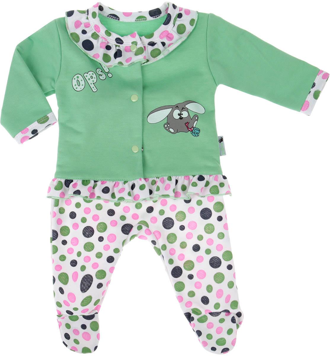Комплект для девочки Клякса: кофточка, ползунки, цвет: зеленый, белый. 21Д-5062. Размер 8021Д-5062Детский комплект Клякса состоит из кофточки и ползунков. Комплект выполнен из натурального хлопка. Кофта с длинным рукавом застегивается на кнопки спереди. Модель украшена оборками под горловиной и по низу, а также декорирована принтом с изображением забавного кролика. Ползунки с закрытыми ножками имеют эластичную резинку на поясе. Изделие оформлено ярким принтом.