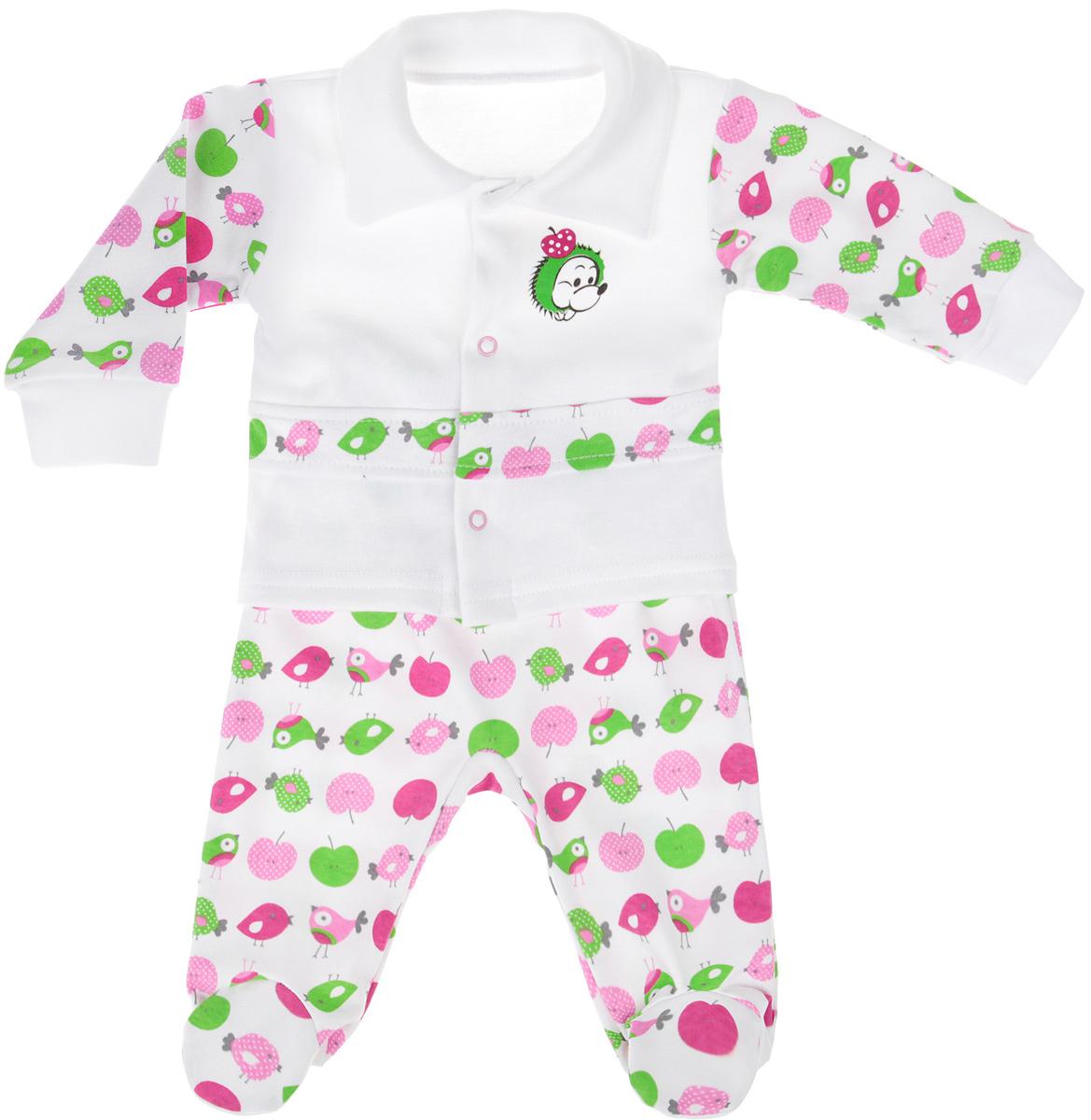 Комплект для девочки Клякса: кофточка, ползунки, цвет: белый. 37К-5062. Размер 80 комплекты детской одежды клякса комплект для девочки из кофточки и ползунков