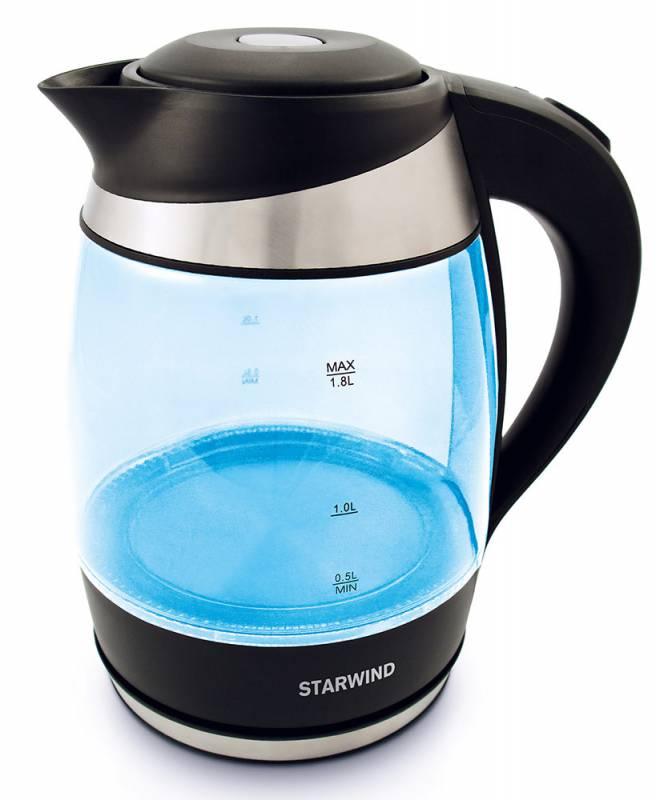Starwind SKG2218, Blue Black чайник электрическийSKG2218Электрочайник Starwind SKG2218 а считанные минуты вскипятит воду благодаря свой мощности в 2200 Вт.Нагревательным элементом служит скрытая спираль, поэтому чайник легко чистить от накипи. А чтобы частички накипи не попадали в чашку, у чайника есть специальный защитный фильтр. Устройство автоматически отключится, когда вода закипит.Благодаря индикации на корпусе вы всегда сможете налить столько, сколько необходимо. Корпус выполнен из жаропрочного стекла. Яркая расцветка корпуса чайника Starwind SKG2218 привнесет в кухню дополнительный оригинальный элемент.
