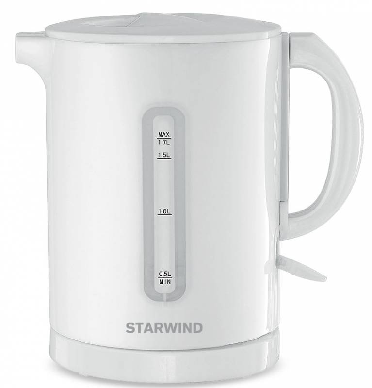 Starwind SKP1431, White чайник электрическийSKP1431Электрический чайник Starwind SKP1431 прост в управлении и долговечен в использовании. Изготовлениз высококачественных материалов. Прозрачное окошко позволяет определить уровень воды. Мощность 2200 Втпозволит вскипятить 1,7 литра воды в считанные минуты. Для обеспечения безопасности при повседневномиспользовании предусмотрена функция автовыключения.