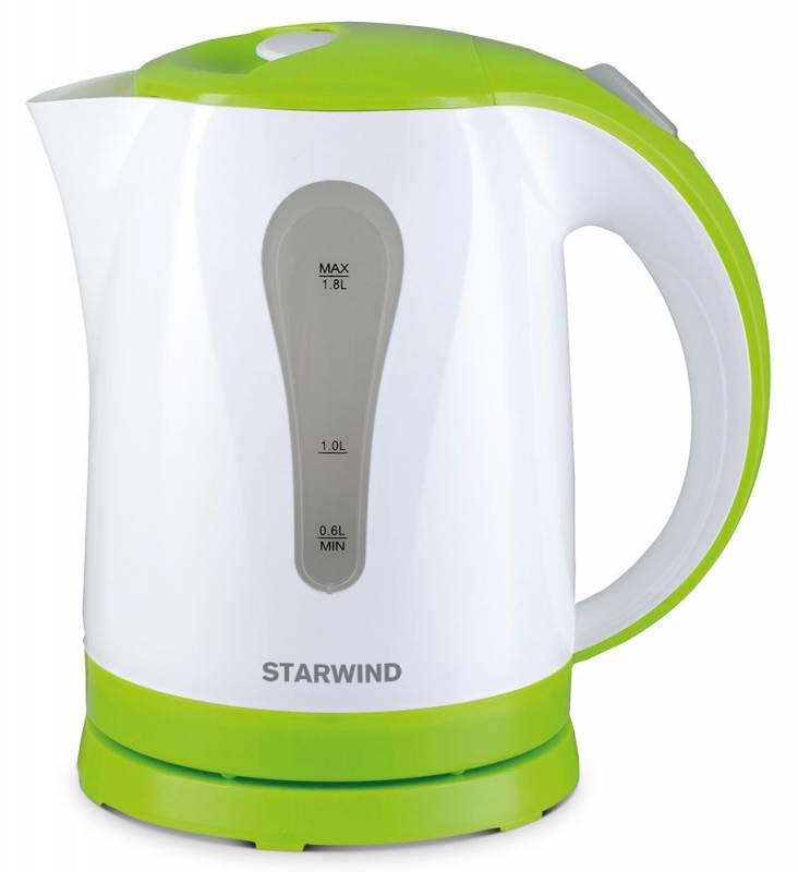 Starwind SKP2215, White Green чайник электрическийSKP2215Электрический чайник Starwind SKP2215 прост в управлении и долговечен в использовании. Изготовлениз высококачественных материалов. Прозрачное окошко позволяет определить уровень воды. Мощность 2200 Втпозволит вскипятить 1,8 литра воды в считанные минуты. Для обеспечения безопасности при повседневномиспользовании предусмотрены функция автовыключения, а также защита от включения при отсутствии воды.
