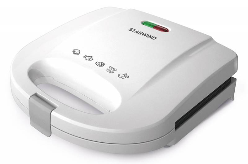 Starwind SSW2111, White сэндвичницаSSW2111Starwind SSW2111 за считанные минуты приготовит вкуснейшие сэндвичи. Антипригарное покрытие позволит не волноваться за то, что ваш завтрак подгорит, а прочная защелка и световая индикация обеспечат удобство эксплуатации устройства.