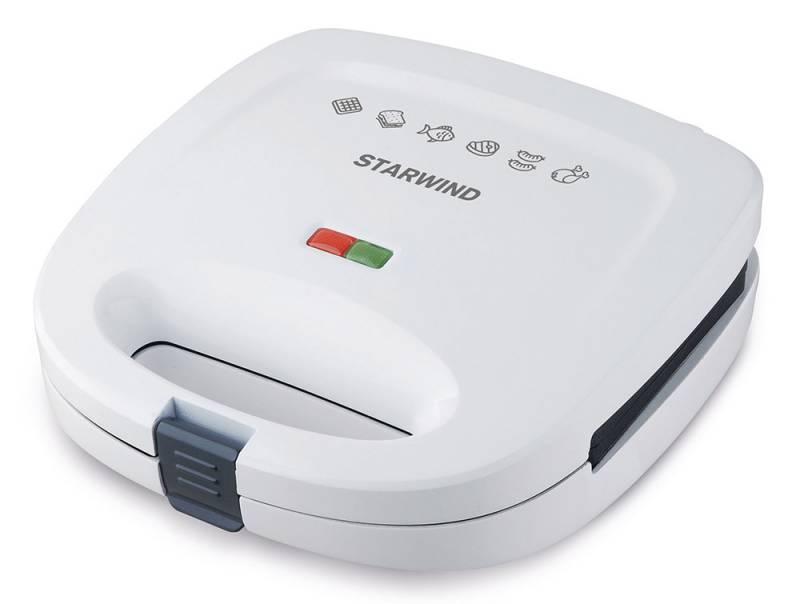 Starwind SSW8111, White сэндвичницаSSW8111Starwind SSW8111 за считанные минуты приготовит вкуснейшие сэндвичи, вафли или гриль. Антипригарное покрытие позволит не волноваться за то, что ваш завтрак подгорит, а прочная защелка и световая индикация обеспечат удобство эксплуатации устройства. Сэндвичница оснащена съемными формами для приготовления.