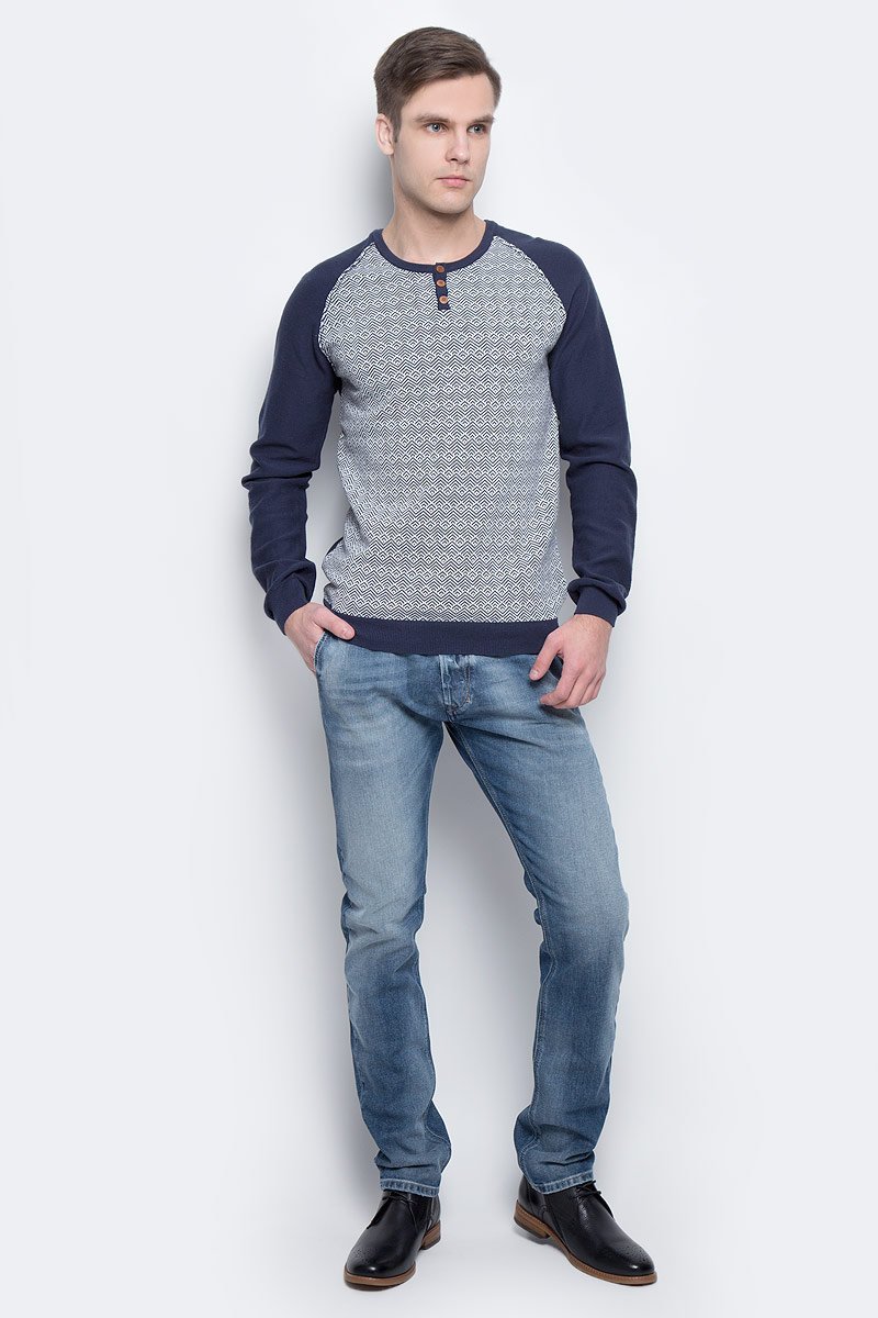 Джемпер мужской Lee Cooper, цвет: серый, синий. CIVAN-5535. Размер XXL (52/54) рубашка мужская lee cooper цвет темно зеленый lchmw044 размер xxl 54
