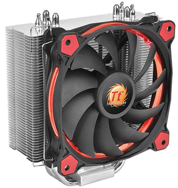 Thermaltake Riing Silent 12 Red кулер компьютерныйCL-P022-AL12RE-AКулер Thermaltake Riing Silent 12 имеет башенный дизайн с узкими пластинами радиатора. Это позволяет добиться большего пространства вокруг процессорного разъема для установки высокопроизводительных оверклокерских модулей оперативной памяти.Специально спроектированный 120 мм охлаждающий вентилятор с ШИМ управлением скорости вращения 11 лопастей имеет высокую эффективность и низкий уровень шума. Также Riing Silent 12 имеет стильную запатентованную подсветку в виде светящегося кольца.Уникальный 120 мм вентилятор с ШИМ управлением скорости вращения крыльчатки с 11 лопастями обеспечивает идеальный баланс между уровнем шума и эффективностью охлаждения. ШИМ управление позволяет материнской плате самой задавать скоростью работы вентилятора в зависимости от нагрузки и температуры CPU.Для дополнительной оптимизации охлаждения, с внутренней стороны рамы вентилятора имеется специальный выступ, позволяющий направить часть воздушного потока в середину вентилятора. Это позволяет избежать частичного оттока воздуха с краев вентилятора и добиться минимального уровня аэродинамических шумов.Благодаря уникальной подсветке в виде светящегося кольца, ее можно видеть при взгляде на вентилятор с любого угла.Для минимизации уровня шума, применяется высококачественный гидравлический подшипник с собственной смазкой. Благодаря специальным сальникам препятствуется течь смазывающей жидкости.Для оценки уровня производимого шума, кулер Riing Silent 12 был протестирован в специальной безэховой испытательной камере. При использовании понижающего напряжение кабеля LNC (Low-Noise Cable), уровень шума снижается на 29% с 18.8 дБ до 13.4 дБ, а количество оборотов падает на 50%. Riing Silent 12 обеспечивает высокую эффективность охлаждения CPU, удерживая температуру от 30° до 32.5° при температуре окружающей среды 20°. Протестировано на Intel Core i7-4770K 3.8GHz при полной нагрузке.Для максимально быстрого отвода тепла, медные тепловые 6 мм