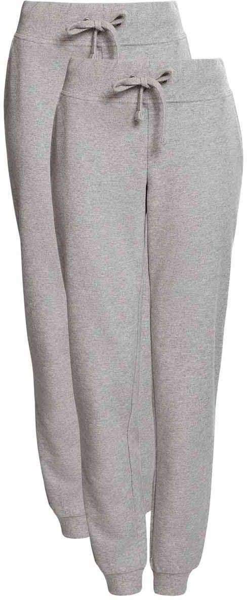 Брюки спортивные женские oodji Ultra, цвет: серый меланж, 2 шт. 16700030-5T2/46173/2300M. Размер M (46)