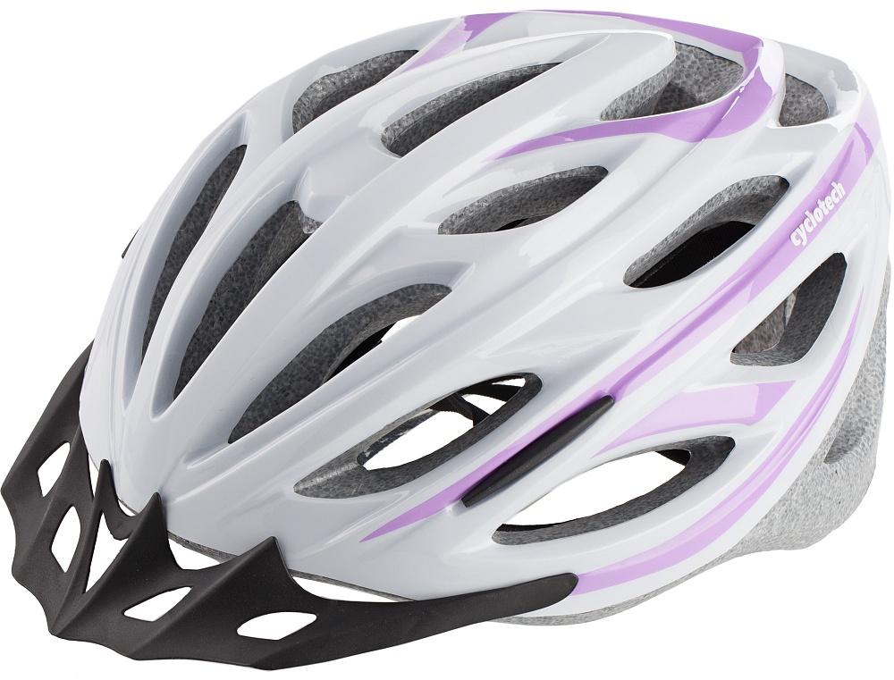 Шлем велосипедный женский Cyclotech, цвет: белый, сиреневый. Размер MCHHY15WЖенский велосипедный шлем Cyclotech изготовлен по технологии OutMold, которая обеспечивает хорошее сочетание невысокой цены и достаточной технологичности. Увеличенное количество вентиляционных отверстий гарантирует отличную циркуляцию воздуха при любой скорости передвижения, сохраняя при этом жесткость шлема. Шлем соответствует международным стандартам безопасности и надежности (сертификация EN 1078). Возможность регулировки размера с помощью поворотного кольца. Шлем выполнен из пластика снаружи и вспененного пенополистирола внутри, дополнен нейлоновой подкладкой. Обхват головы: 58-62 см.