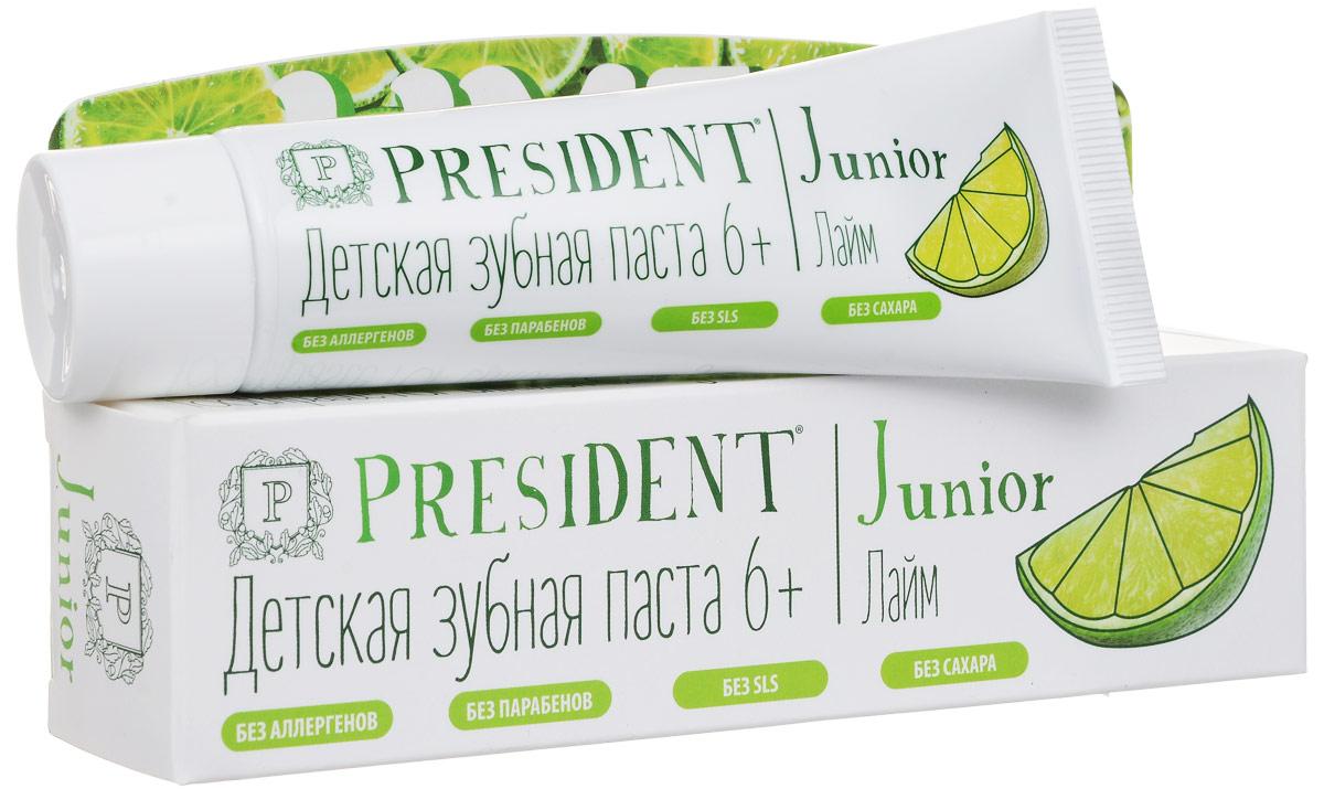 Зубная паста President Junior 6+, детская, со вкусом лайма, 50 мл4310-501118Детская зубная паста President Junior 6+ обеспечивает деликатный и эффективный уход за молочными и постоянными зубами. Стимулирует процессы реминерализации, предотвращает разрушение эмали и развитие кариеса. Освежающий аромат лайма превращает процесс чистки зубов в удовольствие. Не содержит сахар, парабены, лаурилсульфат натрия, ПЭГ. Характеристики:Объем: 50 мл. Размер упаковки: 16,5 см х 3,5 см х 3 см. Производитель: Италия.Артикул:4310-501118.Товар сертифицирован.