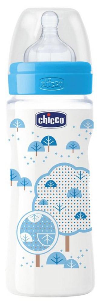 Chicco Бутылочка для кормления с силиконовой соской Well-Being от 4 месяцев 330 мл chicco бутылочка для кормления с латексной соской well being glass от 0 месяцев 150 мл