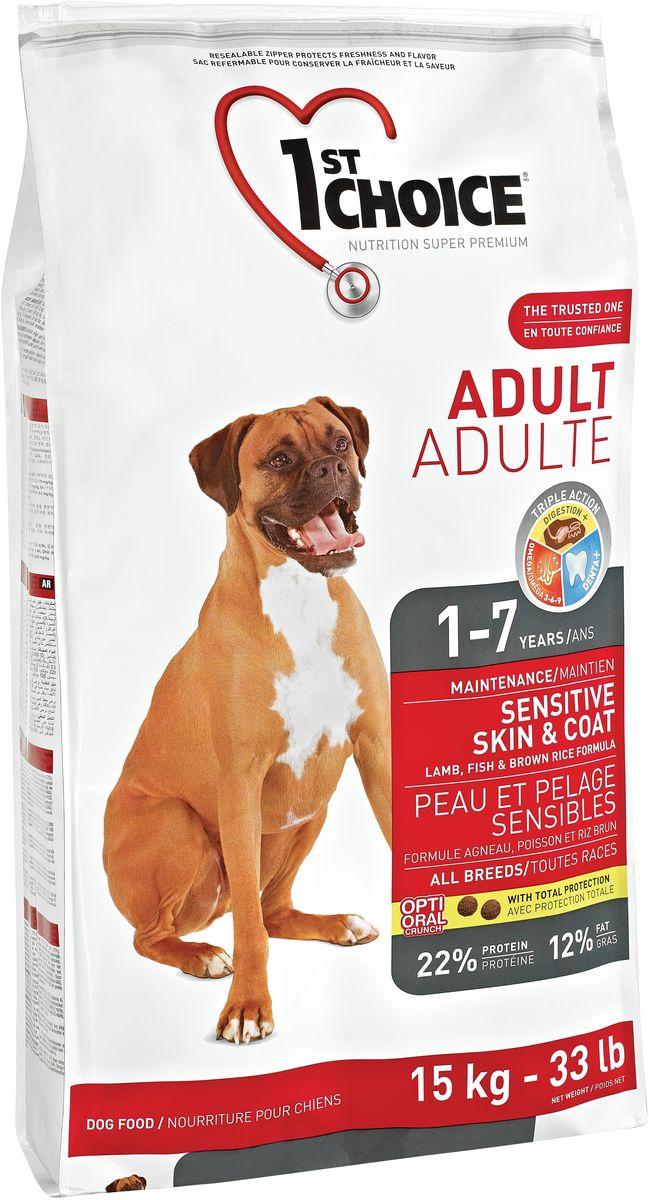 """Корм сухой 1st Choice """"Adult"""" для взрослых собак с чувствительной кожей и шерстью, с ягненком, рыбой и рисом, 15 кг"""