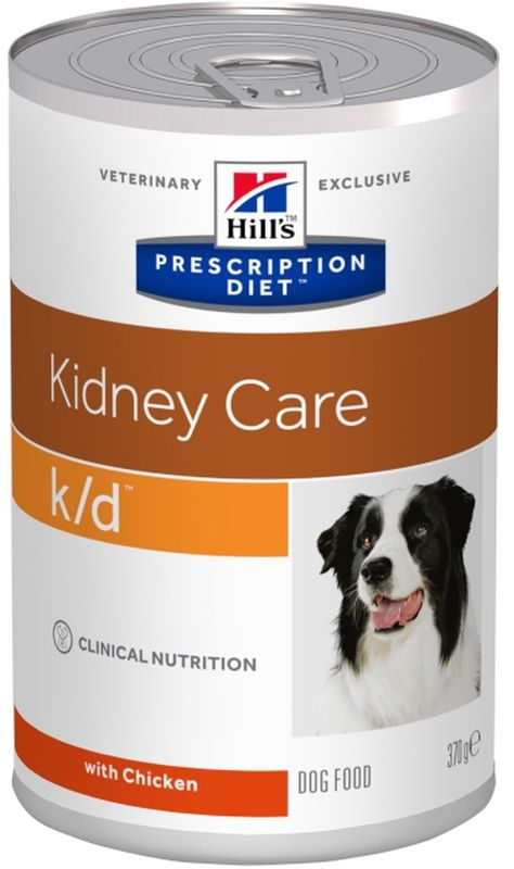 Консервы для собак Hills K/D, диетические, для лечения заболеваний почек, 370 г8010Консервы для собак Hills K/D - полноценный диетический рацион для собак. Поддерживает функции почек при хронической или острой почечной недостаточности. Содержит пониженный уровень фосфора и оптимальный уровень протеинов высокой биологической ценности.Ингредиенты: кукурузный крахмал, свиная печень, животный жир, сахароза, семя льна, сухой яичный белок, сухая сыворотка, гидролизат белка, кальция карбонат, карамель, кальция сульфат, калия хлорид, магния оксид, йодированная соль, витамины и микроэлементы.Среднее содержание нутриентов: бета-каротин 0,45 мг/кг, витамин А 10000 МЕ/кг, витамин D 490 МЕ/кг, витамин Е 165 мг/кг, витамин С 21 мг/кг, влага 70,3%, жиры 7,9%, калий 0,11%, кальций 0,23%, клетчатка 0,1%, магний 0,04%, натрий 0,05%, омега-3 жирные кислоты 0,57%, омега-6 жирные кислоты 1,29%, протеин 4,5%, таурин 0,03%, углеводы 16,1%, фосфор 0,07%.Вес: 370 г.Товар сертифицирован.Уважаемые клиенты! Обращаем ваше внимание на возможные изменения в дизайне упаковки. Качественные характеристики товара остаются неизменными. Поставка осуществляется в зависимости от наличия на складе.Чем кормить пожилых собак: советы ветеринара. Статья OZON Гид