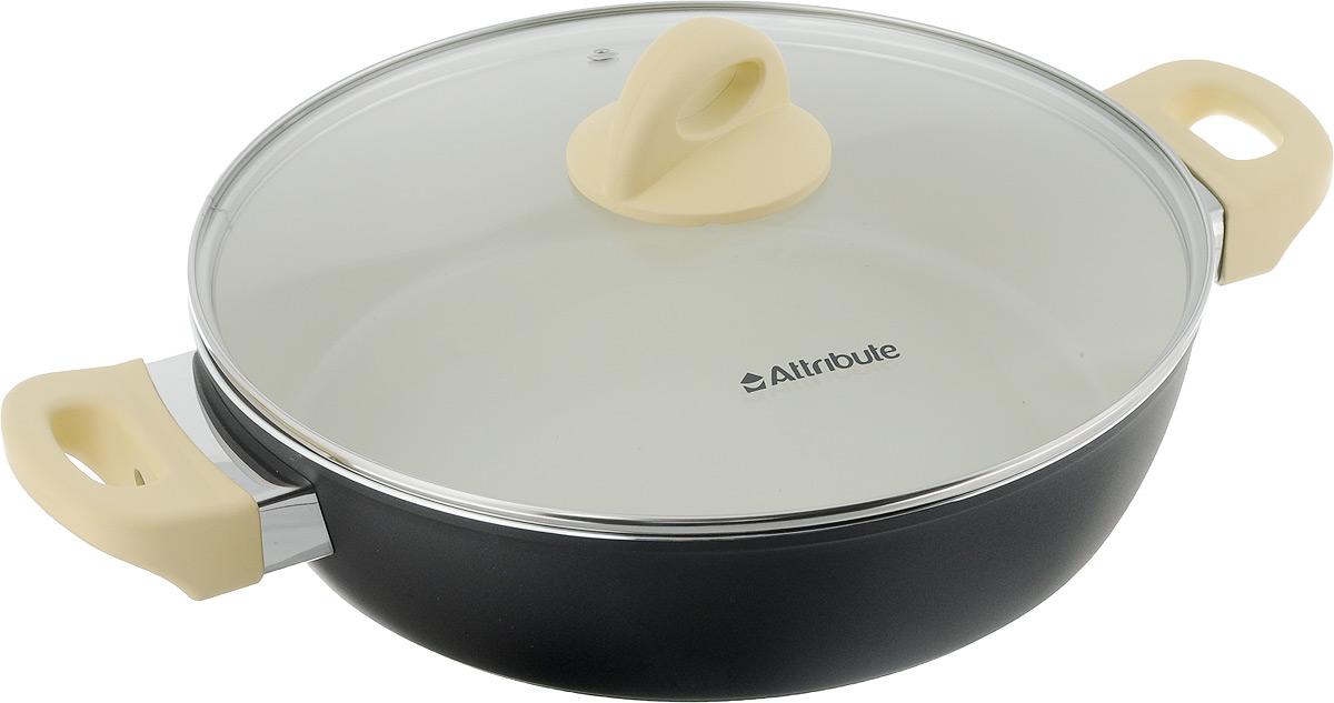 Сотейник Attribute Avorio с крышкой, с керамическим покрытием. Диаметр 28 см riess сковорода avorio 28 см