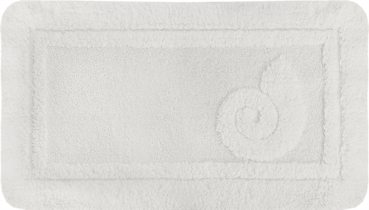 Коврик для ванной Spirella Escargot, цвет: белый, 70 x 120 см1041086Коврик Spirella Escargot, белого цвета выполнен из натурального хлопка. Материал из хлопка практически идеально впитывает влагу и быстро высыхает. Износостойкое волокно длительное время сохраняет первоначальный цвет и внешний вид. Прорезиненная основа коврика позволяет использовать его во влажных помещениях, предотвращает скольжение коврика по гладкой поверхности, а также обеспечивает надежную фиксацию ворса. Фабричная обработка кромки коврика увеличивает срок службы изделия и улучшает его внешний вид. Размер коврика: 70 см х 120 см.