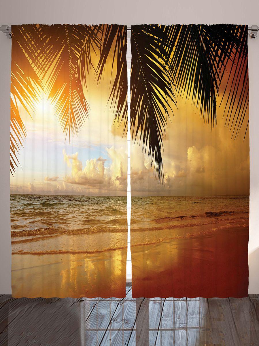 Комплект фотоштор Magic Lady Золотой свет, на ленте, высота 265 см. шсг_1005021323Роскошный комплект фотоштор Magic Lady Золотой свет, выполненный из высококачественного сатена (полиэстер 100%), великолепно украсит любое окно. При изготовлении используются специальные гипоаллергенные чернила. Комплект состоит из двух фотоштор и декорирован изящным рисунком. Оригинальный дизайн и цветовая гамма привлекут к себе внимание и органично впишутся в интерьер комнаты. Крепление на карниз при помощи шторной ленты на крючки.