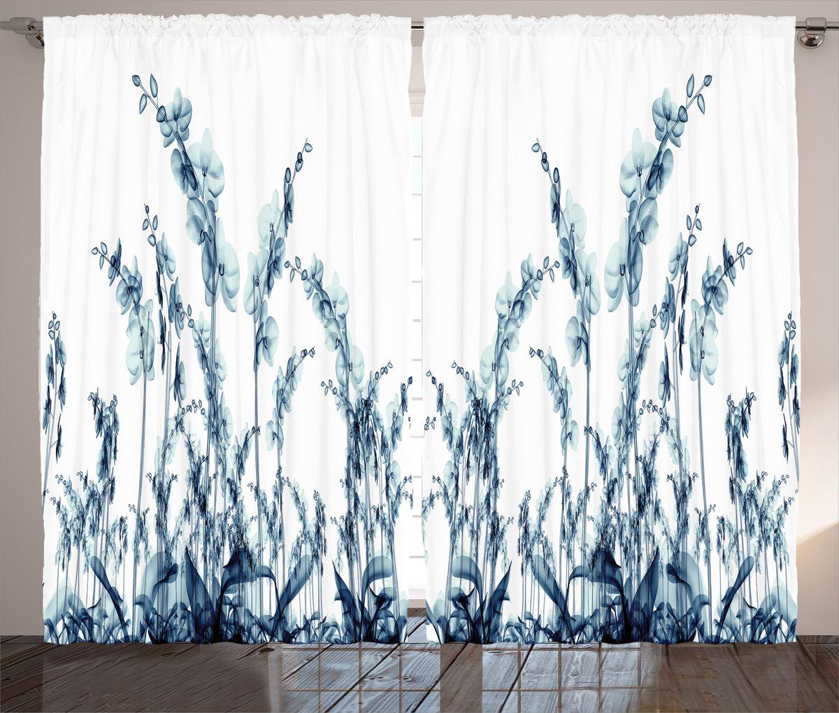 Комплект фотоштор Magic Lady Орхидеи из синего стекла, на ленте, высота 265 см. шсг_14471