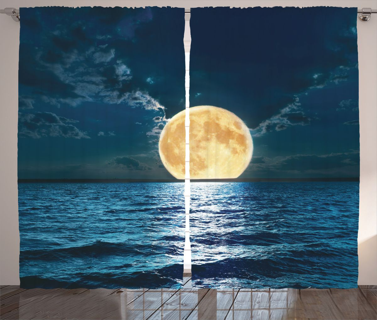 Комплект фотоштор Magic Lady Луна над бирюзовым морем, на ленте, высота 265 см. шсг_15018