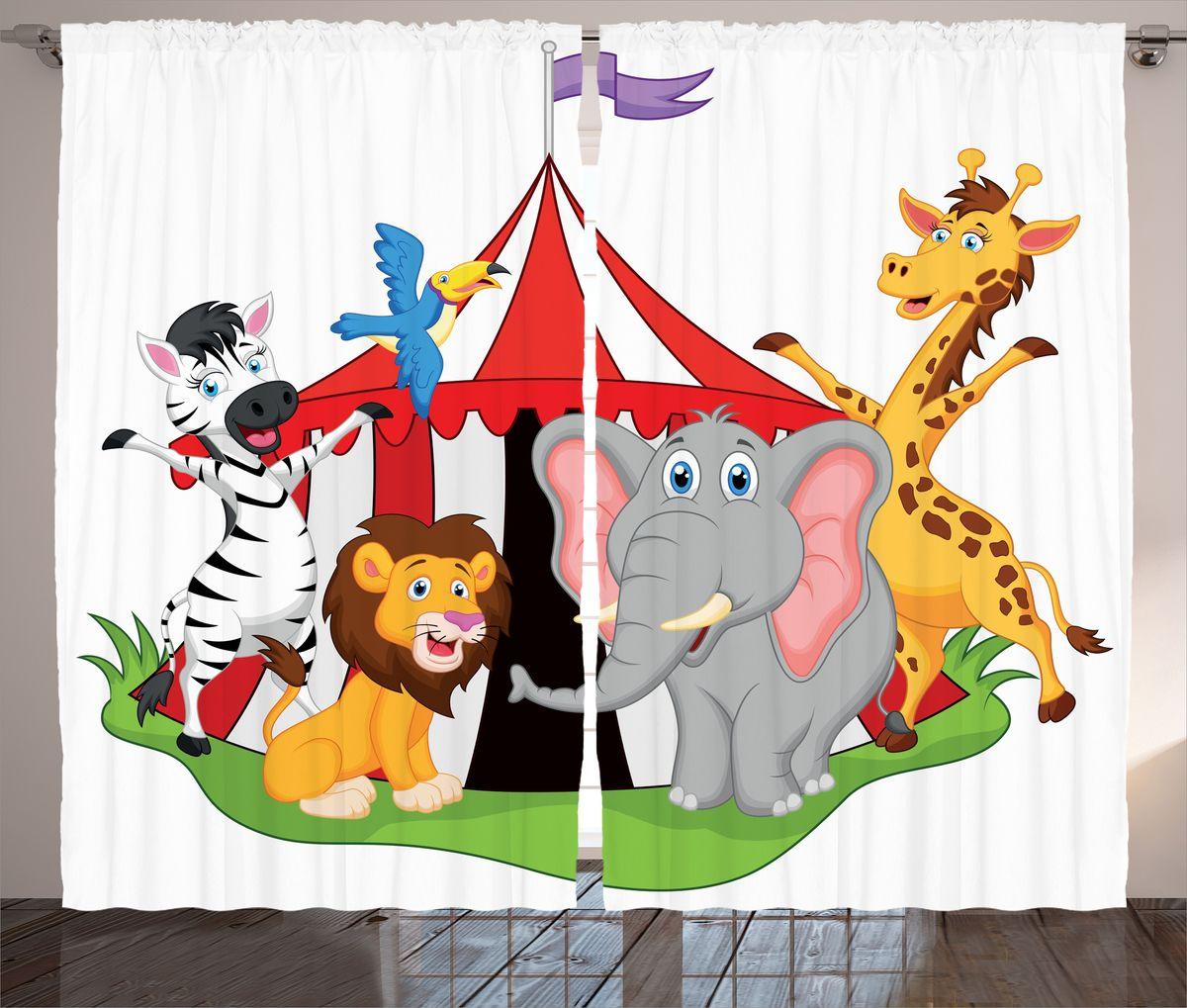 Комплект фотоштор Magic Lady Звери приглашают в цирк, на ленте, высота 265 см. шсг_15457ФШГБ001-09296Роскошный комплект фотоштор Magic Lady Звери приглашают в цирк, выполненный из высококачественного сатена (полиэстер 100%), великолепно украсит любое окно. При изготовлении используются специальные гипоаллергенные чернила. Комплект состоит из двух фотоштор и декорирован рисунком. Оригинальный дизайн и цветовая гамма привлекут к себе внимание и органично впишутся в интерьер комнаты. Крепление на карниз при помощи шторной ленты на крючки.