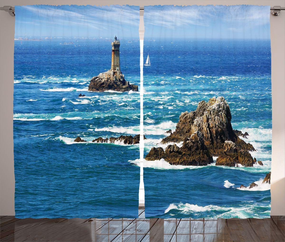 Комплект фотоштор Magic Lady Маяк на острове, на ленте, высота 265 см. шсг_16340 фотошторы magic lady комплект фотоштор для гостиной зелёные острова полиэстер плотностью 175 г кв м 290 265 см