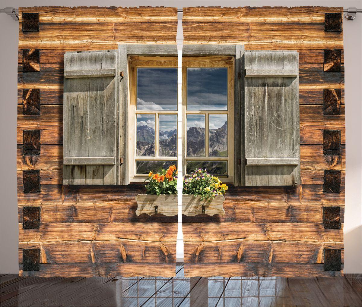 Комплект фотоштор Magic Lady Окно с видом на горы, на ленте, высота 265 см. шсг_16671
