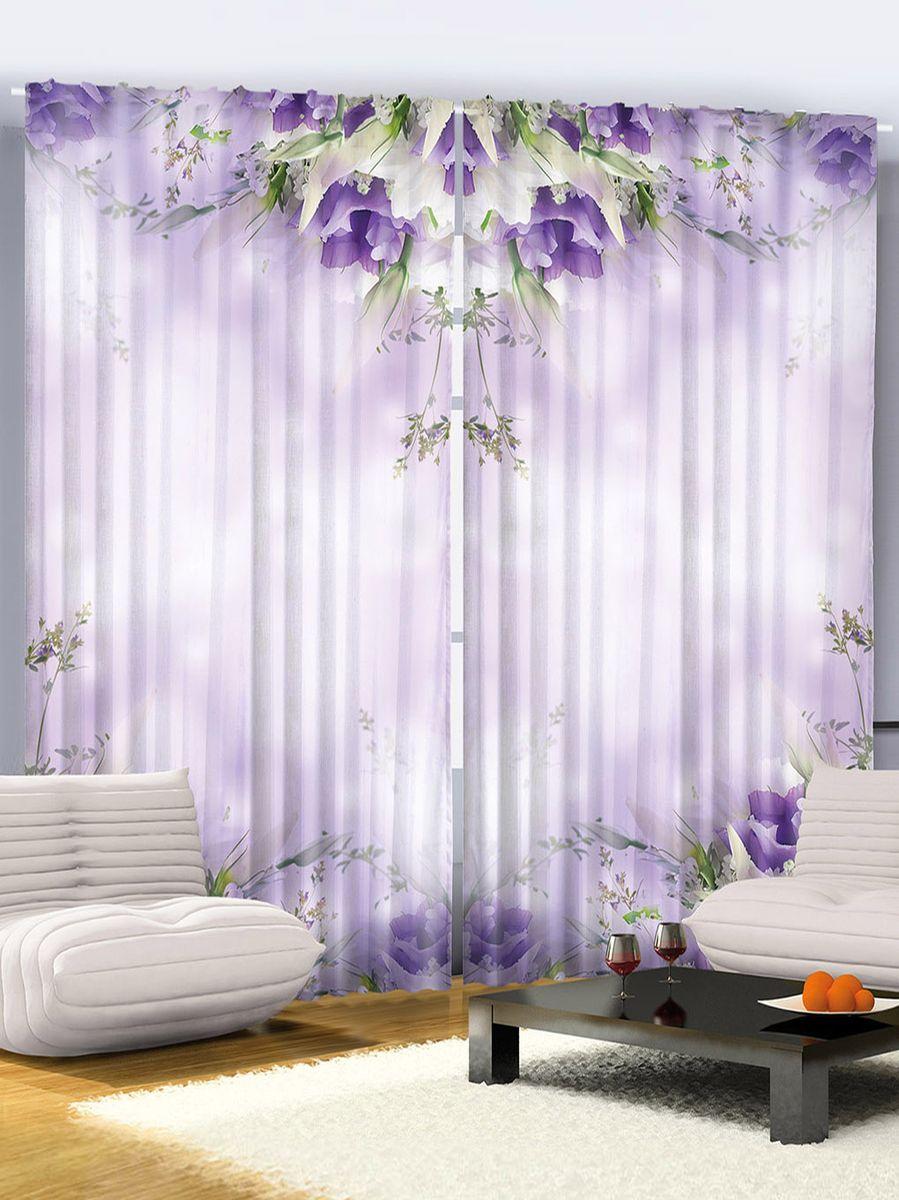 """Комплект фотоштор Magic Lady """"Цветы на фиолетовом фоне"""", на ленте, высота 265 см. шсг_2268"""
