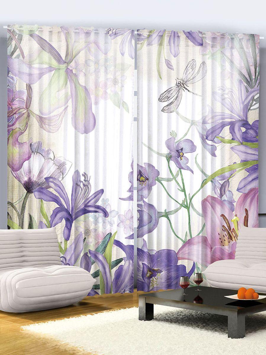 """Комплект фотоштор Magic Lady """"Фиолетовые цветы"""", на ленте, высота 265 см. шсг_2304"""