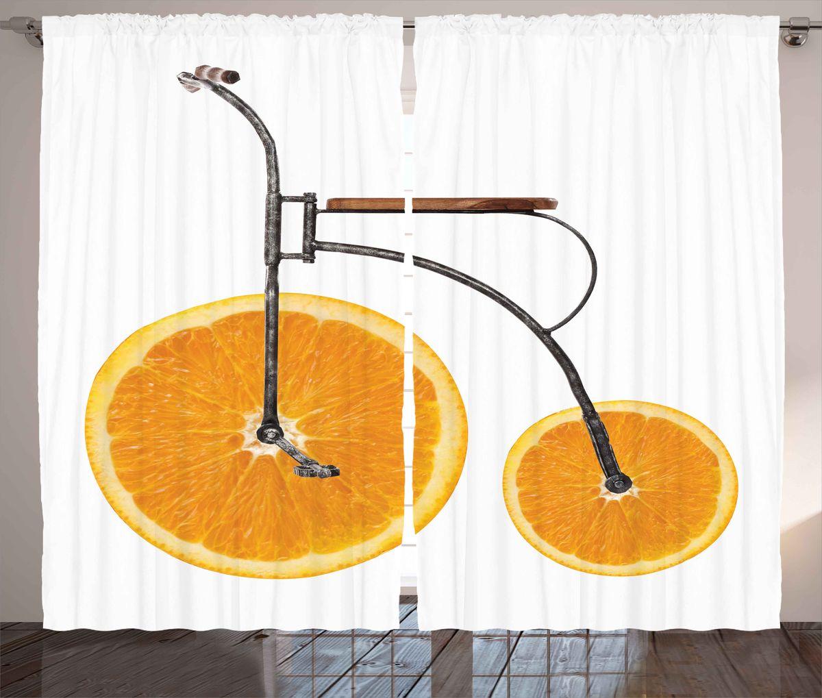 Комплект фотоштор Magic Lady Апельсиновые велосипед, на ленте, цвет: белый, оранжевый, высота 265 см. шсг_5217шсг_5217Компания Сэмболь изготавливает шторы из высококачественного сатена (полиэстер 100%). При изготовлении используются специальные гипоаллергенные чернила для прямой печати по ткани, безопасные для человека и животных. Экологичность фотоштор Magic Lady Апельсиновые велосипед и безопасность для окружающей среды подтверждены сертификатом Oeko-Tex Standard 100. Крепление: крючки для крепления на шторной ленте (50 шт). Возможно крепление на трубу. Внимание! При нанесении сублимационной печати на ткань технологическим методом при температуре 240°С, возможно отклонение полученных размеров (указанных на этикетке и сайте) от стандартных на + - 3- 5 см. Производитель старается максимально точно передать цвета изделия на фотографиях, однако искажения неизбежны и фактический цвет изделия может отличаться от воспринимаемого по фото. Обратите внимание! Шторы изготовлены из полиэстра сатенового переплетения, а не из сатина (хлопок). Размер одного полотна шторы: 145 х 265 см.