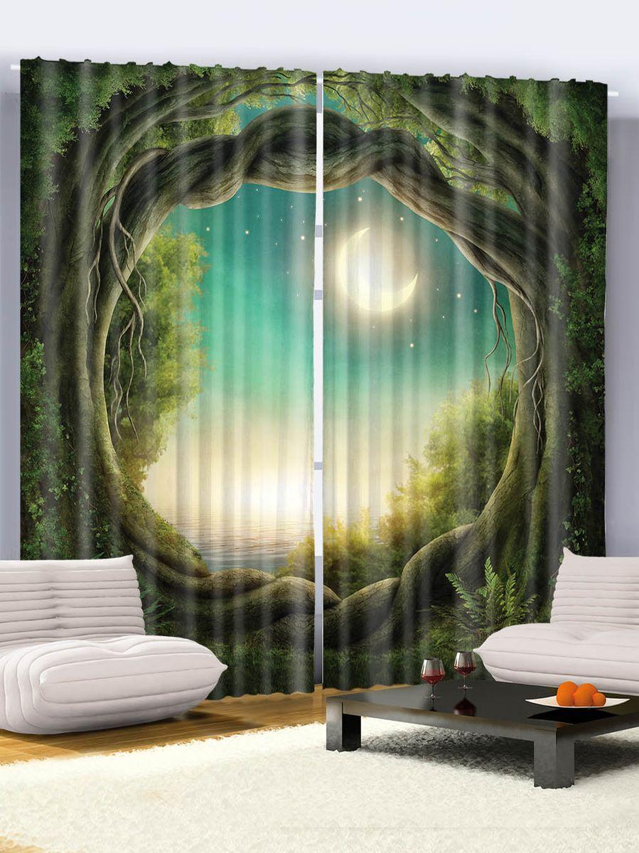 Комплект фотоштор Magic Lady Арка из переплетенных веток, полумесяц в зеленом небе, на ленте, высота 265 см. шсг_7589