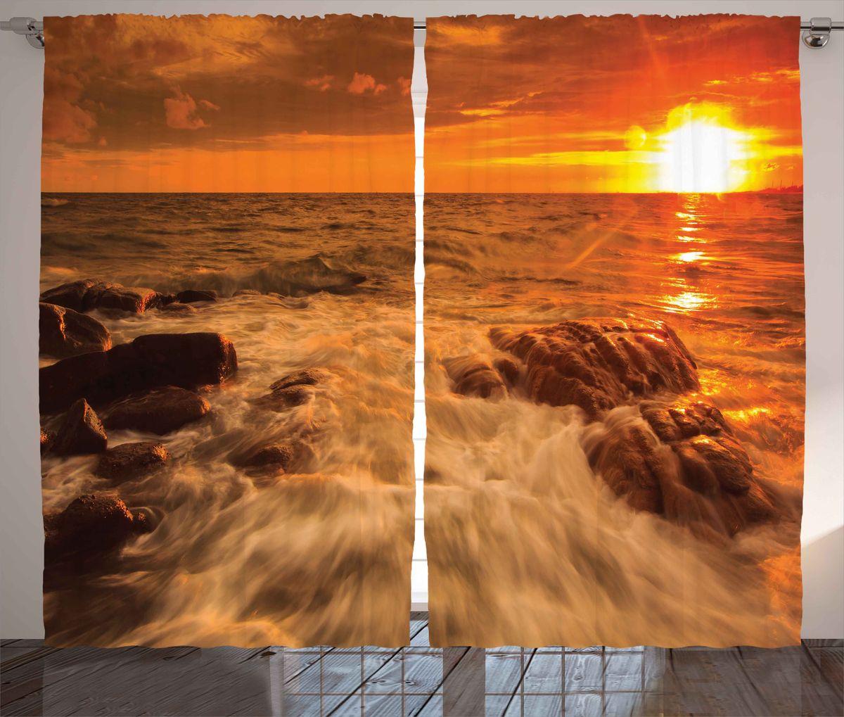 Комплект фотоштор Magic Lady Оранжевый теплый закат, на ленте, высота 265 см. шсг_8341шсг_8341Роскошный комплект фотоштор Magic Lady Оранжевый теплый закат, выполненный из высококачественного сатена (полиэстер 100%), великолепно украсит любое окно. При изготовлении используются специальные гипоаллергенные чернила. Комплект состоит из двух фотоштор и декорирован изящным рисунком. Оригинальный дизайн и цветовая гамма привлекут к себе внимание и органично впишутся в интерьер комнаты. Крепление на карниз при помощи шторной ленты на крючки.