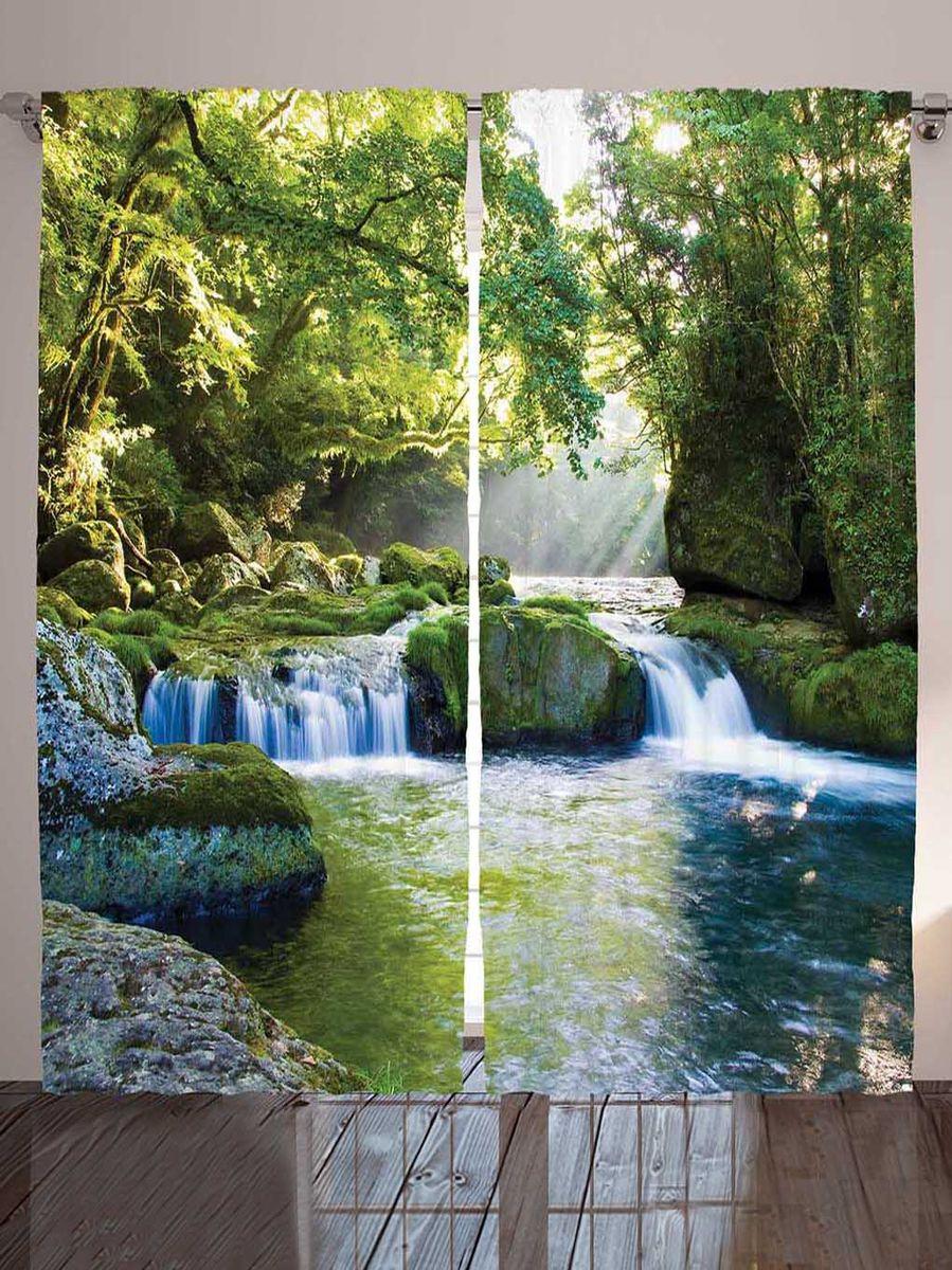 Комплект фотоштор Magic Lady Водопад и замшелые валуны, на ленте, высота 265 см. шсг_8947