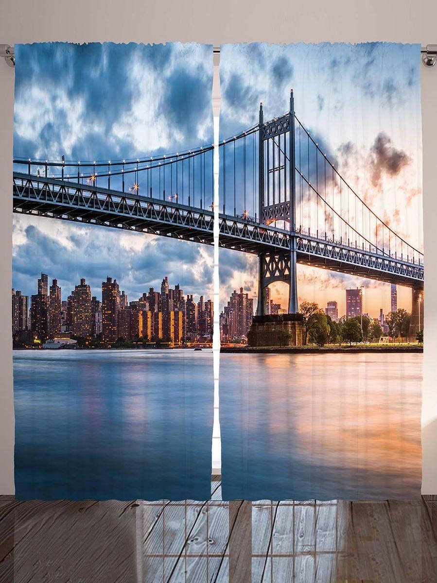 Комплект фотоштор Magic Lady Бруклинский мост, на ленте, высота 265 см. шсг_8988
