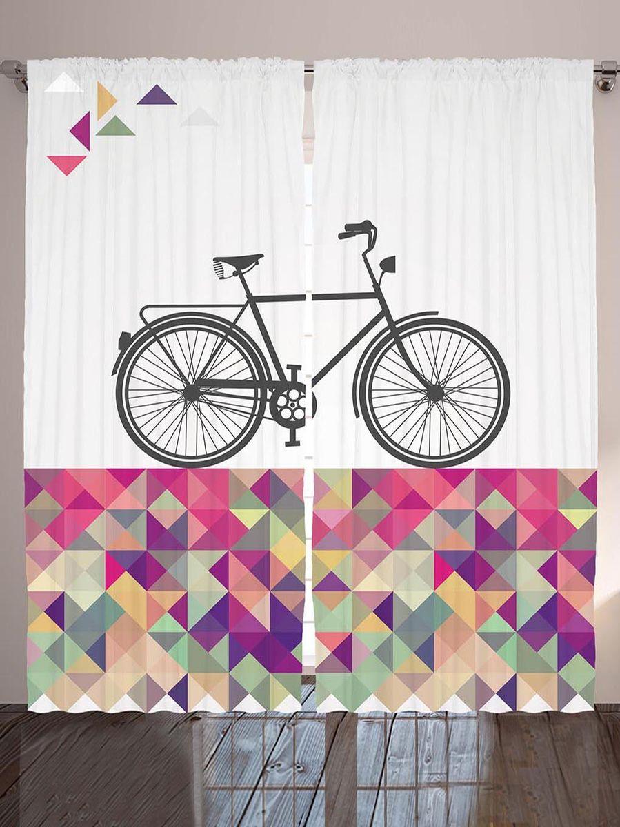 """Комплект фотоштор Magic Lady """"Серый велосипед на разноцветной плитке"""", на ленте, высота 265 см. шсг_9012"""