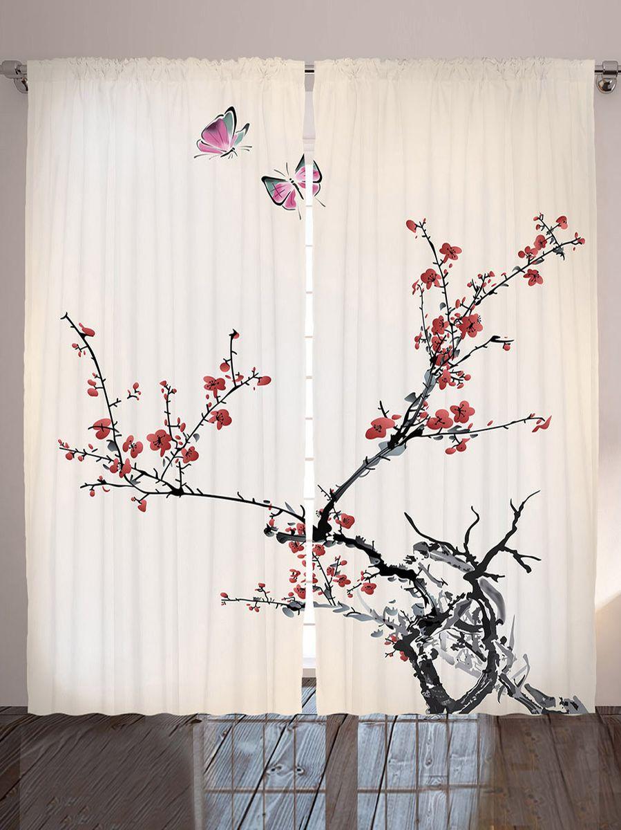 "Комплект фотоштор Magic Lady ""Бабочки над веткой сакуры"", на ленте, высота 265 см. шсг_9112"