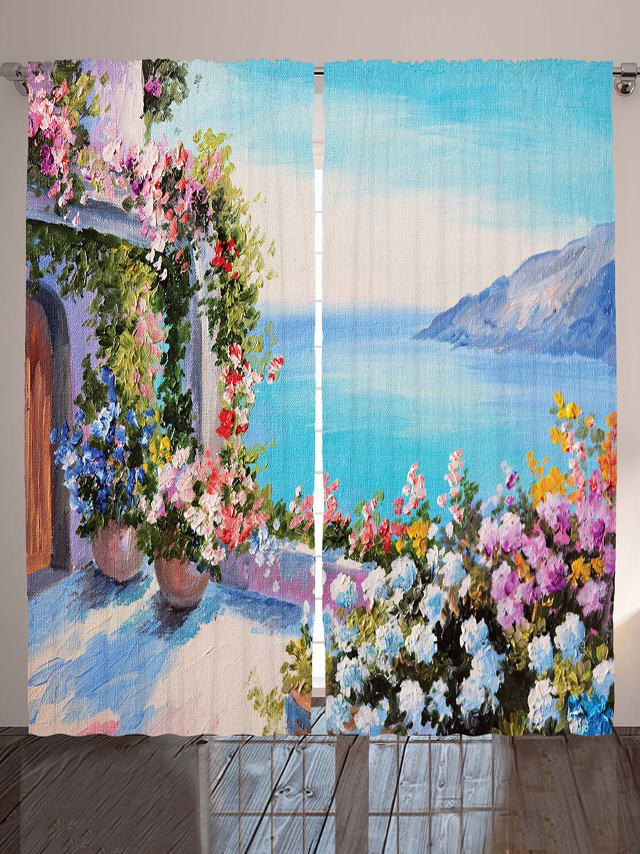 Комплект фотоштор Magic Lady Цветы на веранде, на ленте, высота 265 см. шсг_9176