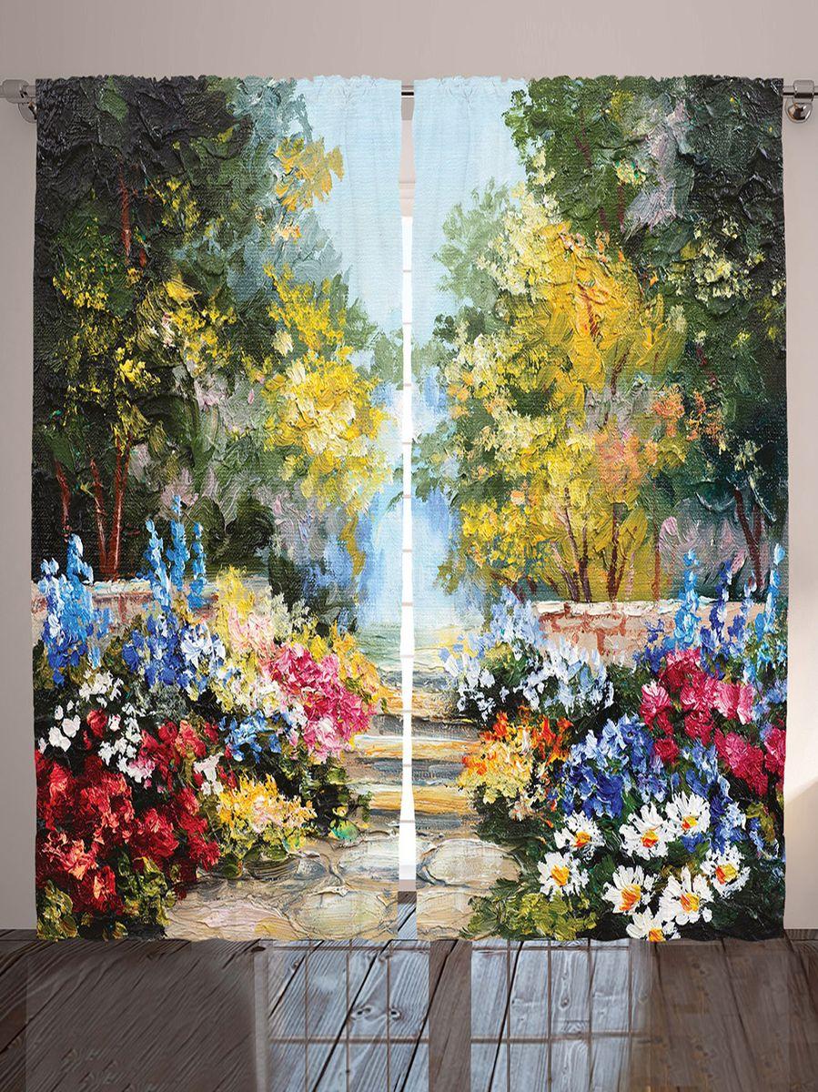 """Комплект фотоштор Magic Lady """"Цветы в осеннем палисаднике"""", на ленте, высота 265 см. шсг_9179"""