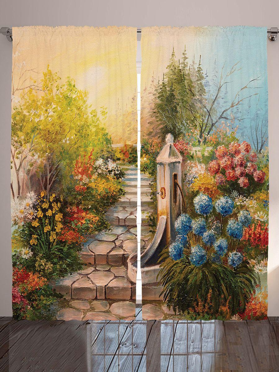 """Комплект фотоштор Magic Lady """"Лестница в цветущем саду"""", на ленте, высота 265 см. шсг_9193"""