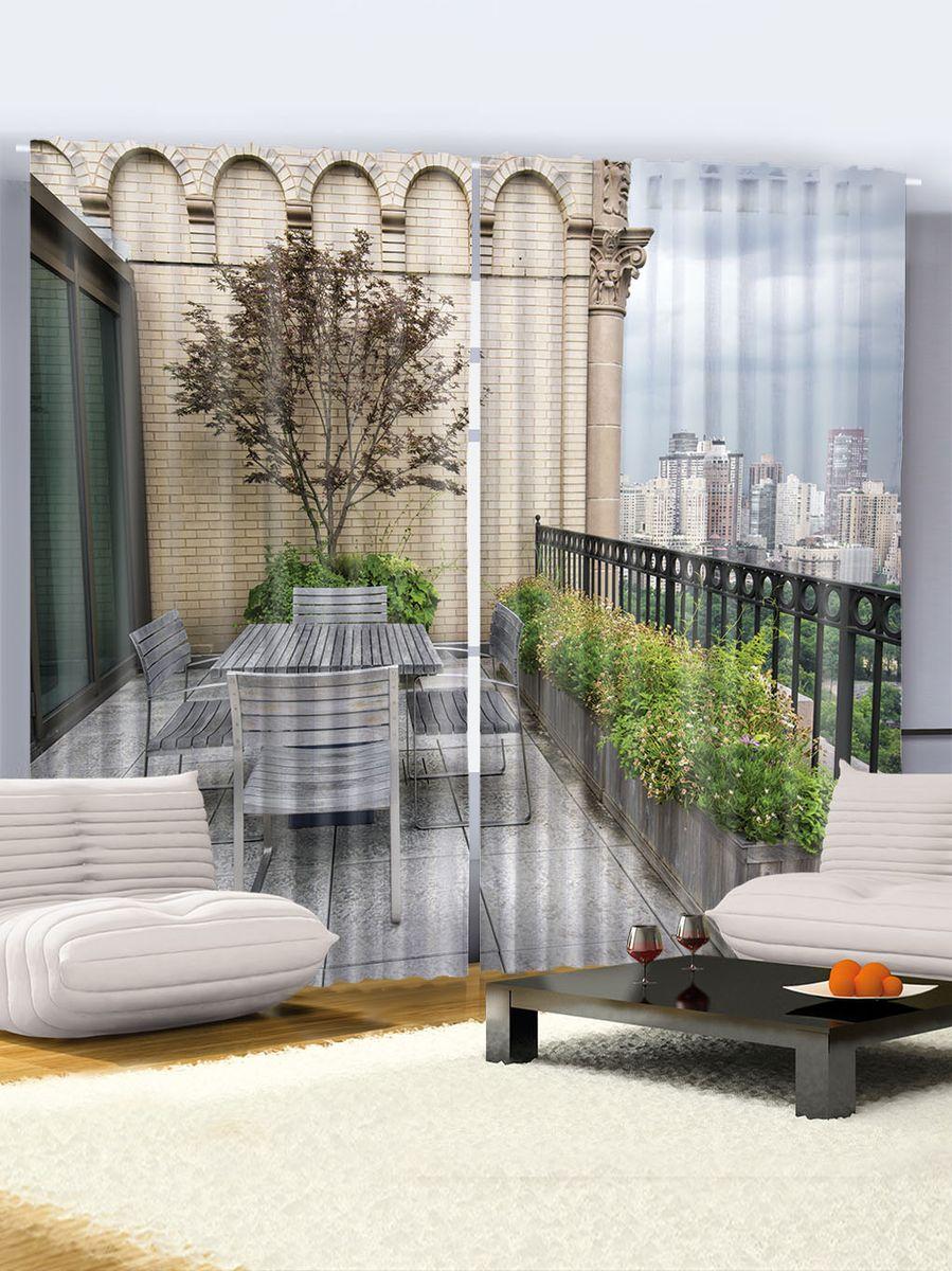Комплект фотоштор Magic Lady Столик на балконе, на ленте, высота 265 см. шсг_946шсг_946Роскошный комплект фотоштор Magic Lady Столик на балконе, выполненный из высококачественного сатена (полиэстер 100%), великолепно украсит любое окно. При изготовлении используются специальные гипоаллергенные чернила. Комплект состоит из двух фотоштор и декорирован изящным рисунком. Оригинальный дизайн и цветовая гамма привлекут к себе внимание и органично впишутся в интерьер комнаты. Крепление на карниз при помощи шторной ленты на крючки.
