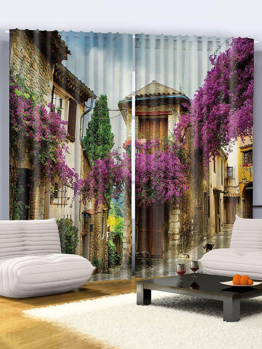 Комплект фотоштор Magic Lady Лиловые цветы, на ленте, высота 265 см. шсг_960