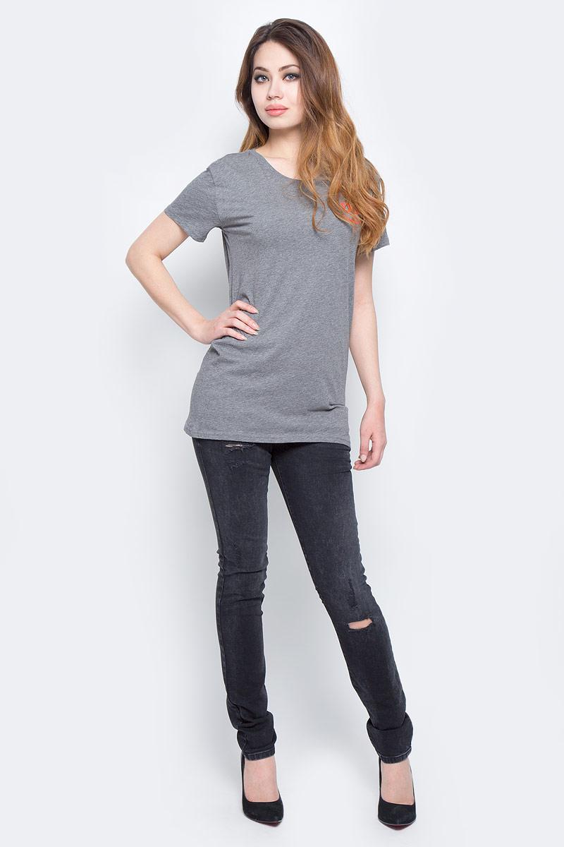 Футболка женская Diesel, цвет: серый. 00SVVB-00CZJ/96X. Размер XL (52) футболка женская diesel цвет черный 00srtx 0qaml размер xl 50