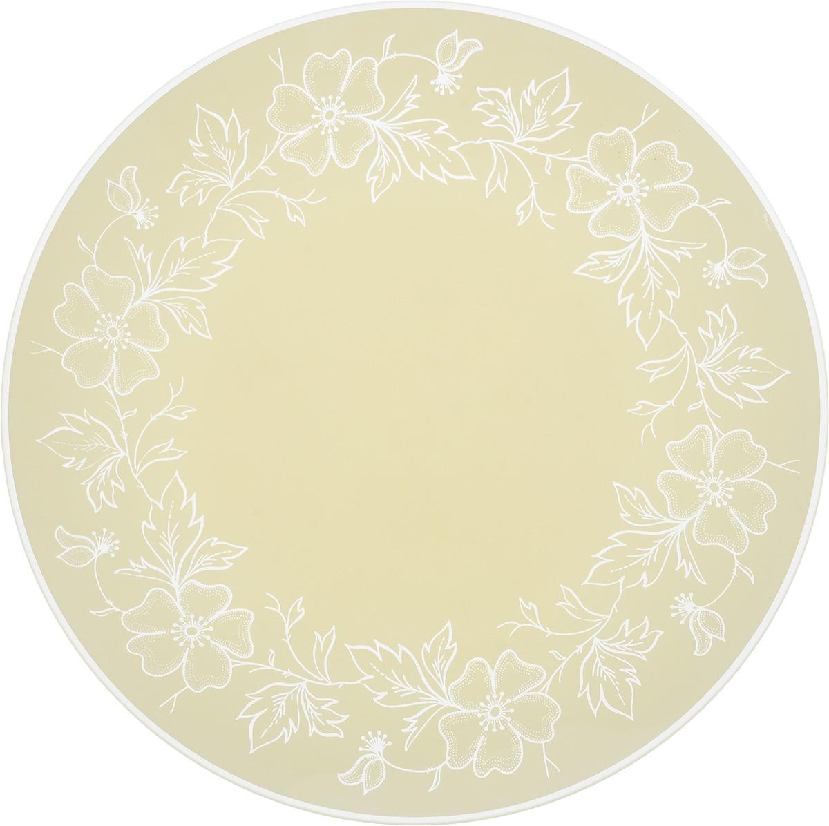 Тарелка NiNaGlass Лара, цвет: кремовый, диаметр 26 см85-260-075/белТарелка NiNaGlass Лара выполнена из высококачественного стекла и оформлена красивым цветочным узором. Тарелка идеальна для подачи вторых блюд, а также сервировки закусок, нарезок, салатов, овощей и фруктов. Она отлично подойдет как для повседневных, так и для торжественных случаев.Такая тарелка прекрасно впишется в интерьер вашей кухни и станет достойным дополнением к кухонному инвентарю.