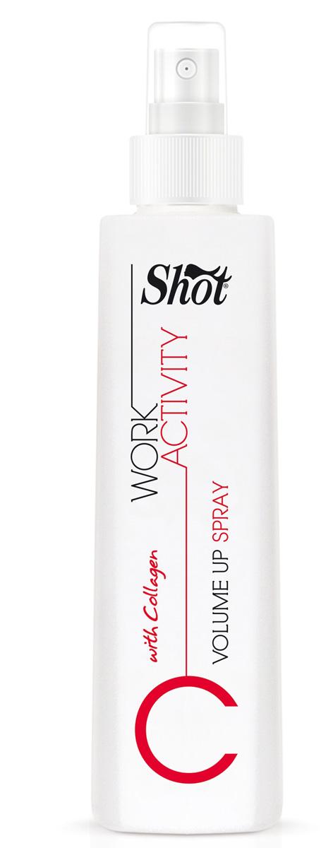 Shot Спрей для придания объема Work Activity Volume Up Spray - 250 млSHWA107Предназначен для тонких и лишенных природной пышности волос.Shot Work Activity Volume Up Spray - соединяет в себе уникальные ухаживающие характеристике структурных белков и витаминов, и дополнен специальным комплексом фиксирующих агентов, позволяющих добавлять каждой пряди объем и поддерживать его в течение дня. Использование спрея Shot Work Activity Volume Up Spray гарантирует:- легкость создания головокружительно пышных укладок.- максимально бережное отношение к волосам.- полноценное питание и защиту локонов от внешнего негатива.За счет высокого содержания в Shot Work Activity Volume Up Spray белков - коллагена и кератина, способных проникать глубоко в структуру каждого волоска, локоны уплотняются и восстанавливаются изнутри, становятся более гладкими и объемными.Витамины, полученные из зеленых яблок, цитрусовых, зеленого чая и сахарного тростника, прекрасно увлажняют пряди, омолаживают по всей длине, дарят блеск и силу.