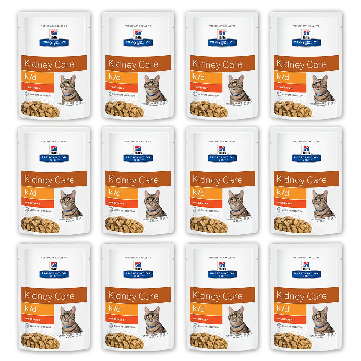 Консервы для кошек Hills Prescription Diet. K/D, при заболевании почек и урологическом синдроме, с курицей, 85 г, 12 шт3405_12Консервы для кошек Hills Prescription Diet. K/D рекомендуются при хронических заболеваниях почек, при заболеваниях сердца, при уратном и цистиновом уролитиазе.Не рекомендуется котятам, беременным и кормящим кошкам, кошкам с дефицитом натрия в организме.В 2-х летнем исследовании клинически доказано что у кошек, питавшихся рационом Hills Prescription Diet k/d Feline, значительно реже отмечались эпизоды уремии и снижался уровень смертности. Ключевые преимущества: - Сниженное содержание фосфора помогает замедлить развитие заболевания почек. - Контролируемое содержание протеина помогает снизить накопление токсичных продуктов белкового обмена, в то же время удовлетворяя потребность организма в протеинах. Уменьшает концентрацию в моче компонентов уратных и цистиновых уролитов. - Повышенное содержание непротеиновых калорий помогает обеспечить поступление энергии и не допускает катаболизма протеинов. - Повышенная буферная емкость рациона препятствует развитию метаболического ацидоза. - Омега-3 жирные кислоты улучшают почечный кровоток. - Содержание натрия снижено, что помогает замедлить развитие заболевания почек. Уменьшает задержку воды в организме на ранних стадиях заболеваний сердца. - Повышенное содержание растворимой клетчатки уменьшает реабсорбцию аммония в кишечнике. Помогает понизить концентрацию мочевины в крови. - Повышенное содержание витаминов группы В восполняет потери данных витаминов при полиурии. - Антиоксидантная формула нейтрализует действие свободных радикалов для поддержания функции почек. Ингредиенты: курица (24%), свинина, кукурузный крахмал, пшеничная мука, крахмал из тапиоки, различные сахара, витамины и микроэлементы, лосось, рыбий жир, порошок животного протеина, подсолнечное масло, концентрат протеина гороха. Окрашено натуральной карамелью.Среднее содержание нутриентов в рационе: протеин 6,6%, жиры 5,1%, углеводы (БЭВ) 9,4%,