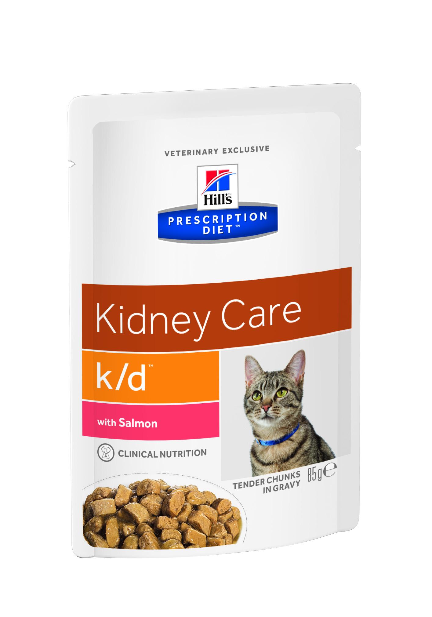 Консервы диетические для кошек Hill's K/D, для поддержания функции почек, с лососем, 85 г консервы для кошек hill s k d диетические для лечения заболеваний почек с курицей 156 г х 12 шт
