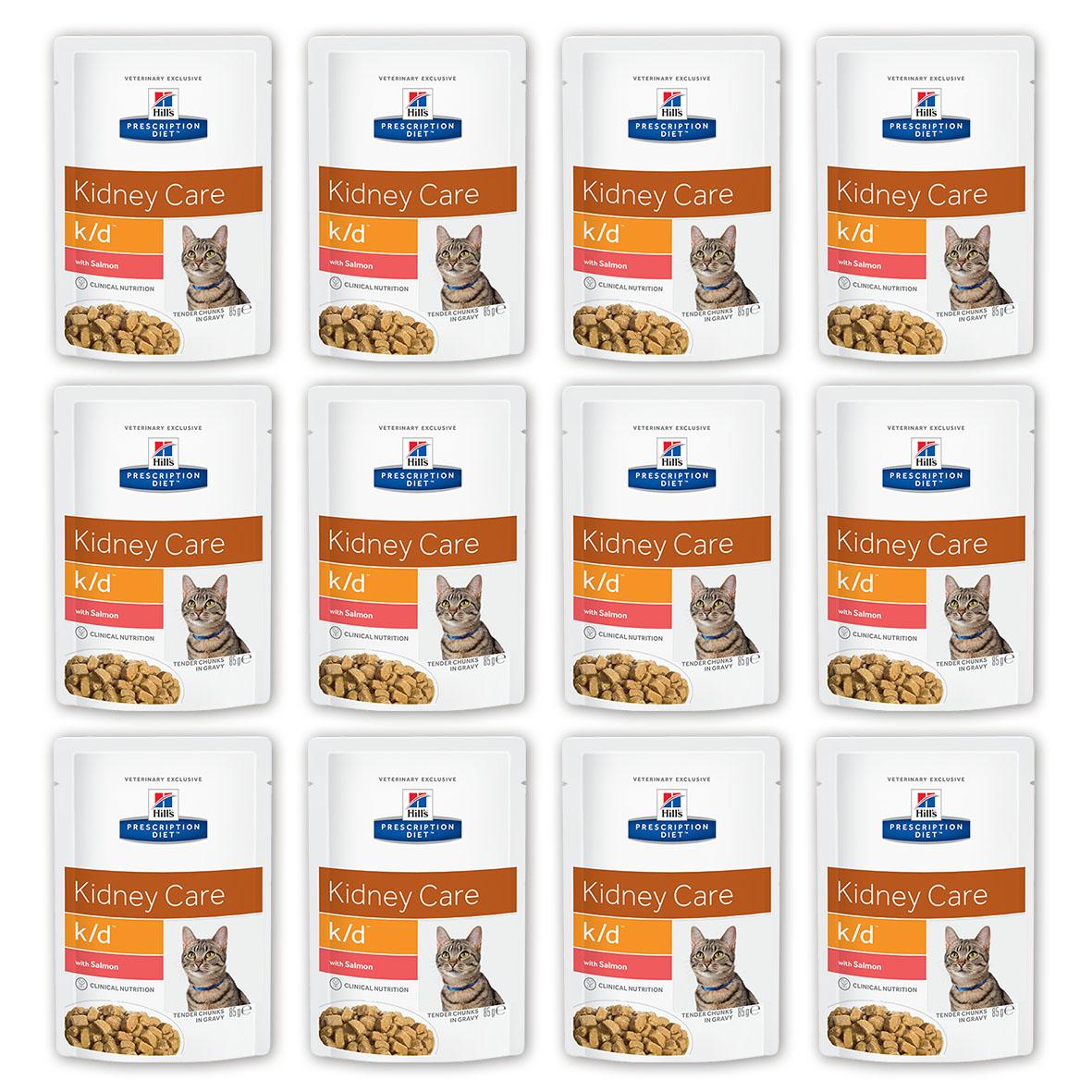 Консервы для кошек Hill's Prescription Diet. K/D, при заболевании почек и урологическом синдроме, с лососем, 85 г, 12 шт консервы для кошек hill s k d диетические для лечения заболеваний почек с курицей 156 г х 12 шт