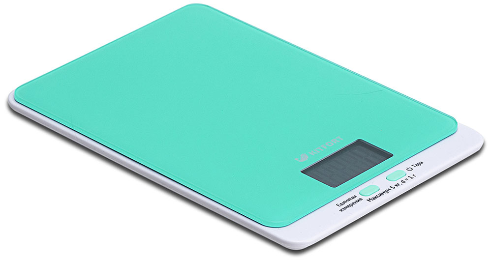Kitfort КТ-803-1,весы кухонные цвет: зеленыйКТ-803-1Электронные кухонные весы Kitfort КТ-803 позволяют определять вес до 5 кг с точностью до 1 грамма. Они оснащены жидкокристаллическим дисплеем с крупными цифрами, функциями автокалибровки, тарировки и выбора единиц измерения. Платформа выполнена из высокопрочного полированного стекла, а прорезиненные ножки обеспечивают весам дополнительную устойчивость и предотвращают их скольжение по поверхности. Для получения максимально точного результата устанавливайте весы на ровную горизонтальную поверхность. Датчики веса находятся в ножках весов, поэтому если они стоят на неровной или мягкой поверхности, то вес будет измеряться неправильно. Функция тарировки работает только при включенных весах.Левая кнопка используется для переключения единиц измерений. Включите весы, дождитесь окончания калибровки, затем последовательными нажатиями на кнопку выберите требуемые единицы измерения: g (граммы), oz (унции), lb: oz (фунты: унции), ml (миллилитры), fl.oz (жидкие унции). Выбранные в данный момент единицы измерения отображаются в правой части дисплея.