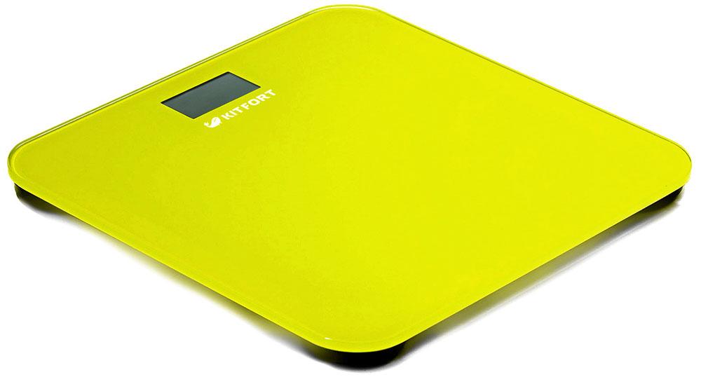 Kitfort КТ-804-4, Yellow весы напольныеКТ-804-4Электронные напольные весы Kitfort КТ-804 обеспечивают высокую точность измерения и станут неизменным спутником для людей, следящих за своим весом. Весы оснащены жидкокристаллическим дисплеем с крупными цифрами, что делает их использование максимально удобным. Платформа выполнена из высокопрочного полированного стекла, а прорезиненные ножки обеспечивают весам дополнительную устойчивость и предотвращают их скольжение по полу, что гарантирует безопасность во время взвешивания.Включение и выключение весов Kitfort КТ-804 происходит автоматически. После взвешивания показания весов фиксируются. При каждом включении весы автоматически калибруются и тарируются для обеспечения большей точности показаний. Весы имеют яркий привлекательный дизайн, благодаря чему украсят собой любой интерьер.Минимальный вес: 2,5 кг