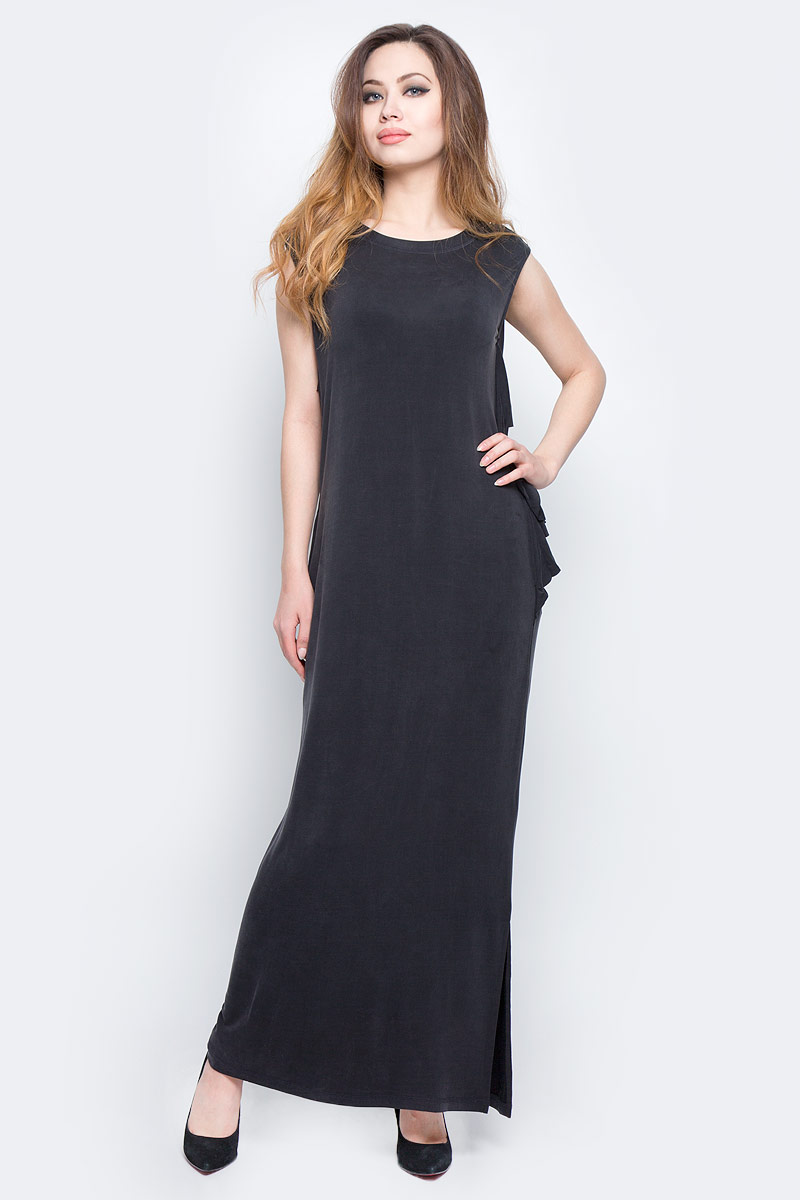 Платье Diesel, цвет: черный. 00SVV7-0JANG/900. Размер L (50)00SVV7-0JANG/900Платье Diesel длины макси изготовлено из купро с добавлением вискозы и эластана. Модель без рукавов с круглым вырезом горловины. Платье дополнено рюшами и вырезами по бокам, имеет свободный крой.