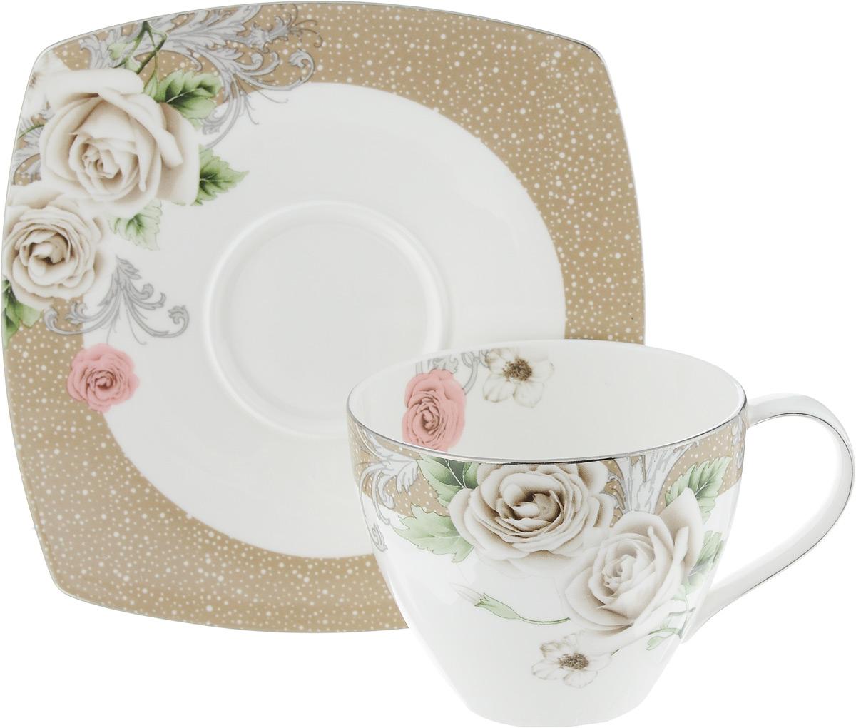 Чайная пара Florance, 2 предметаPR7984Чайная пара Florance состоит из чашки и блюдца, изготовленных из высококачественного фарфора. Красочность оформления придется по вкусу ценителям утонченности и изысканности. Диаметр чашки по верхнему краю: 9 см. Высота чашки: 7 см. Объем чашки: 280 мл. Размер блюдца: 15,5 см х 15,5 см.